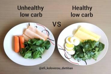 Ανθυγιεινό vs Υγιεινό γεύμα χαμηλών υδατανθράκων